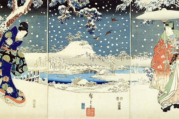 'Snow scene in the Garden of a Daimyo'. Triptych by Hiroshige and Uagawa Kunisada