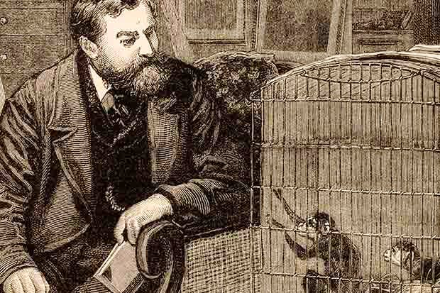 Frank Buckland at home with his caged monkeys