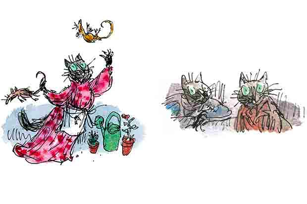 Above and below: Quentin Blake's illustrations for The Tale of Kitty-in-Boots — not the happiest of pairings