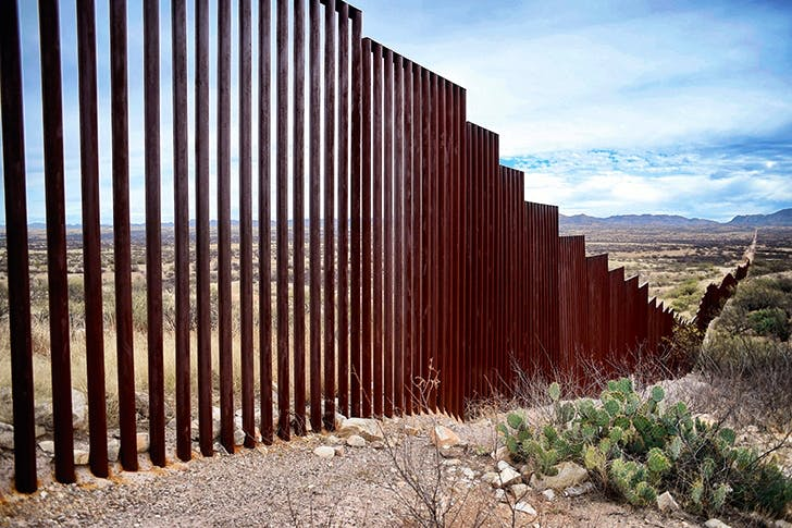Barrier method: view of the border line between Mexico and the US in the community of Sasabe in Sonora state, Mexico