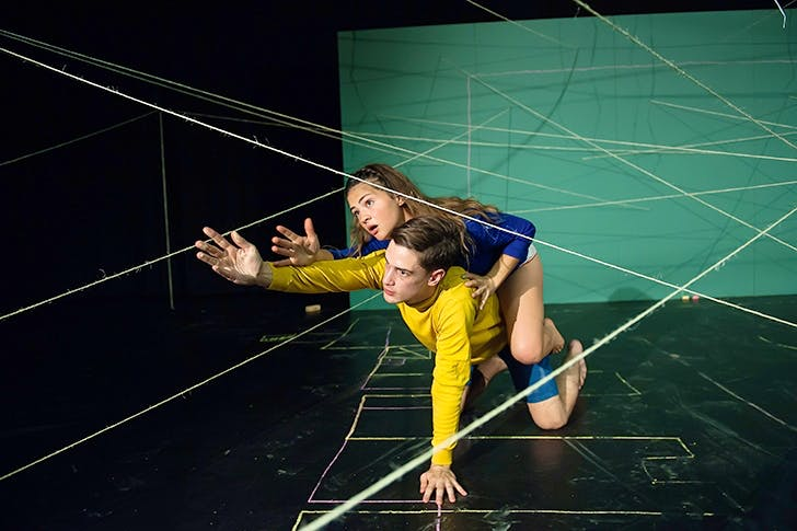 Death trap: Gytha Parmentier and Roman Van Houtven in 'Us/Them' at the Dorfman