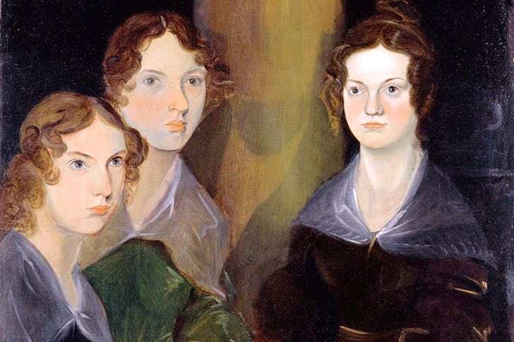 Anne, left, with Emily. Detail of Branwell's group portrait of the Brontës. Though he painted himself out, his ghostly presence can be seen on the right