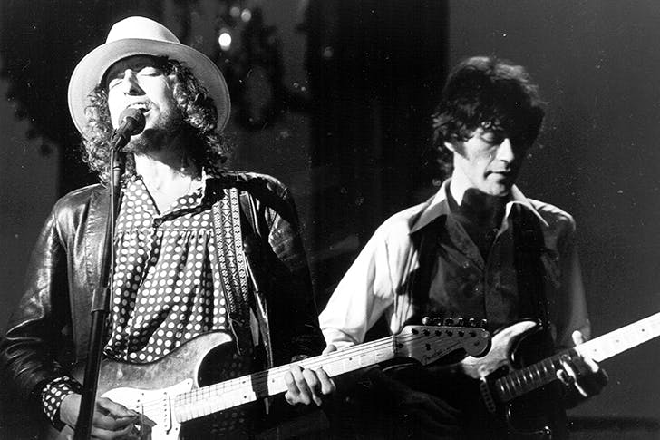 Bob Dylan and Robbie Robertson at The Band's 'The Last Waltz' concert in San Francisco in 1976