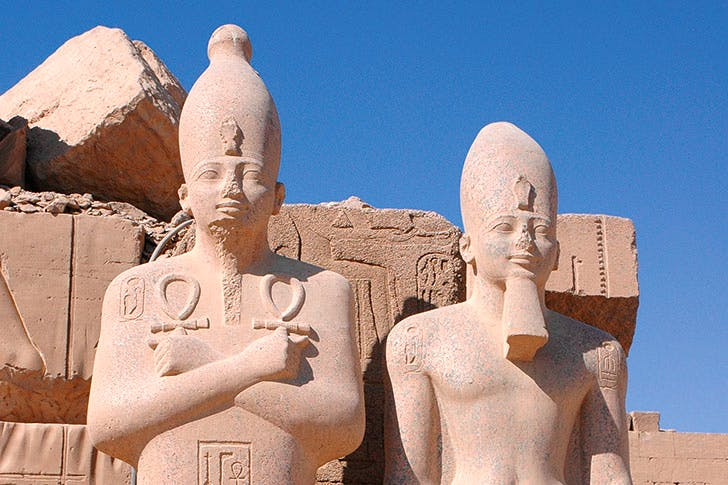 Statues of pharoahs at Karnak, dating from the Middle Kingdom