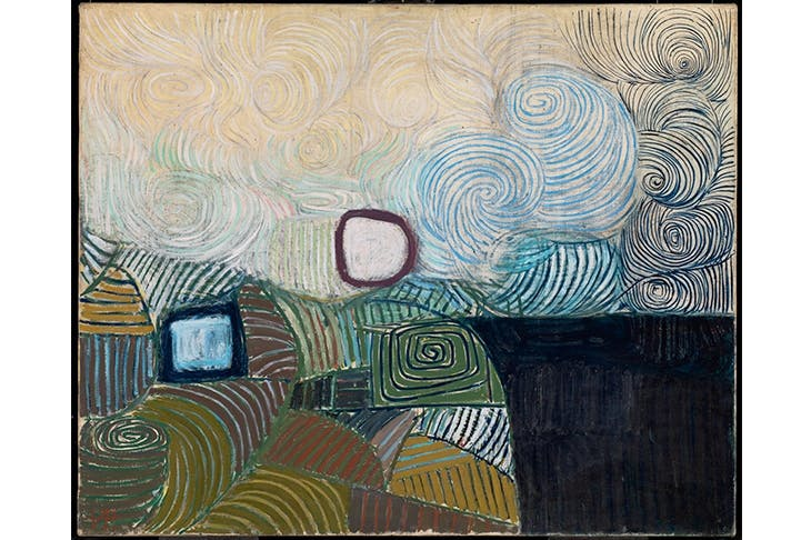 'Spiral Motif in Green, Violet, Blue and Gold: The Coast of the Inland Sea', 1950, by Victor Pasmore