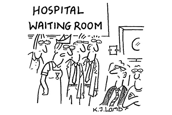 'Would you mind if some students watch while you become increasingly irritated by the waiting and staff shortages?'