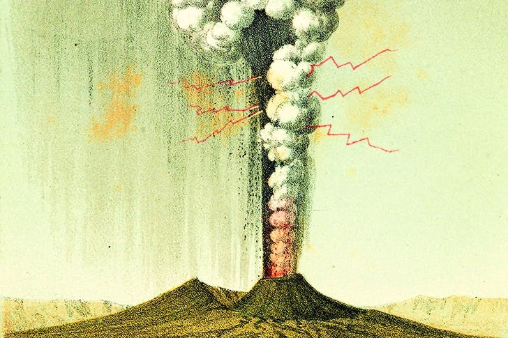 'Explosive eruption of Vesuvius viewed from Naples, October 1822' by George Poulett Scrope Frontispiece from Considerations on Volcanoes, 1825