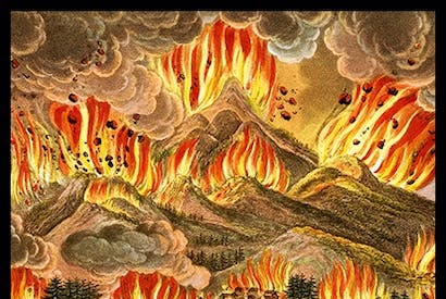 Illustration of the 1783 eruption of Mount Asama in Japan from Illustrations of Japan, 1822 Laura Gascoigne