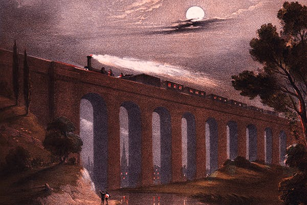 The romance and drama of the night train is captured in Charles d'Albert's illustration