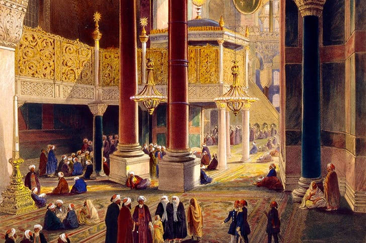 The interior of Hagia Sophia by Gaspare Fossati, 1852