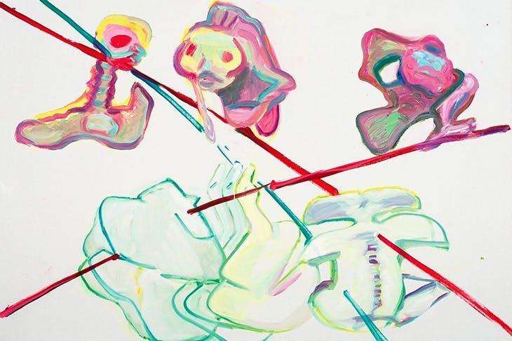 'Schicksalslinien/Be-Ziehungen VIII' ('Lines of Fate'/'Re-lations VIII'), 1994, by Maria Lassnig