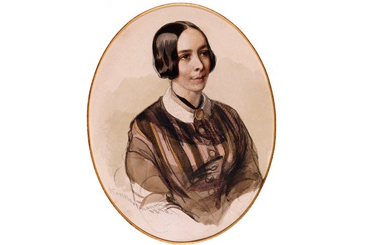 Watercolour sketch of Jane Carlyle by Karl Hartmann (1850)