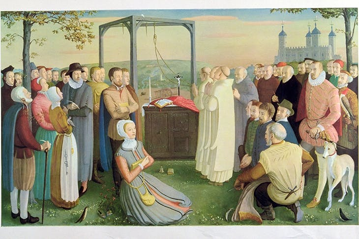 'The Forty Martyrs of England and Wales' by Daphne Pollen. The two foreground figures are Margaret Clitheroe and Nicholas Owen, the priest-hole maker. Behind Margaret Clitheroe, with arms crossed, is Edmund Campion. Philip Howard, 1st Earl of Arundel, is in doublet and hose beside the greyhounda