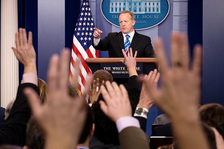 White House Press Secretary Sean Spicer takes questions during the daily press briefing (Getty)