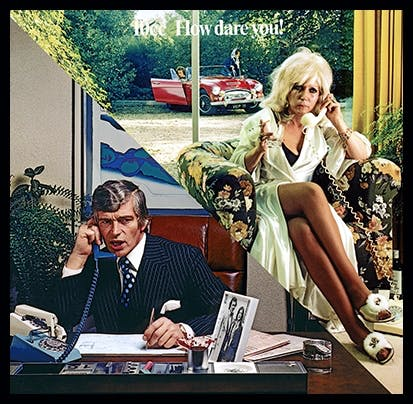Album cover of 10cc's How Dare You!, 1976 Cover design by Hipgnosis/G. Hardie, photography by Aubrey Powell Hipgnosis Ltd