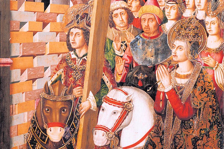 Saint Helena and the Emperor Heraclius restore the Holy Cross to Jerusalem after its recapture from the Persians. Altarpiece by Miguel Jimenez and Martin Bernat, c.1485