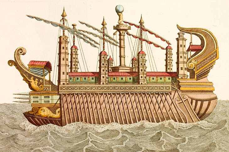 An early super yacht supplied with prostitutes: an artist's impression of Caligula's royal barge, 18th century