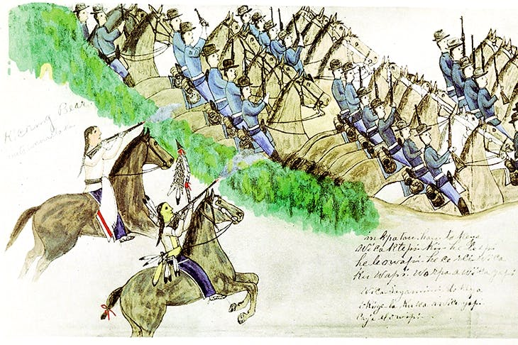 The beginning of the Battle of the Little Bighorn, 1876 , by the Oglala-Lakota artist Amos Bad Heart Bull