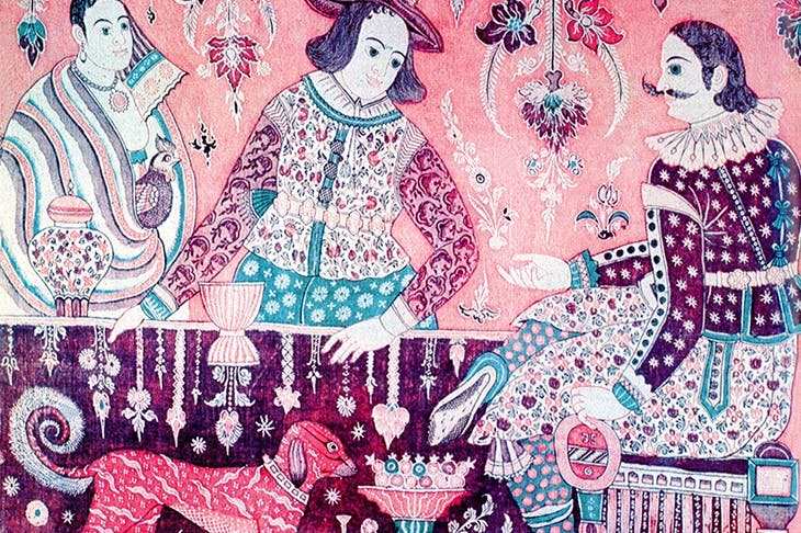 An English merchant bargains with an Indian in a 16th-century cotton tapestry