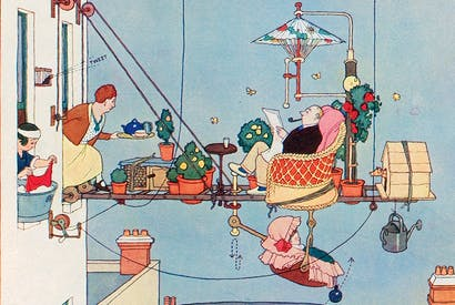'The Deckcheyrie For Unbalconied Flats… will be found to work perfectly, we shouldn't wonder. If not we're sorry', from How to Live in a Flat, 1936, by W. Heath Robinson and K.R.G. Browne
