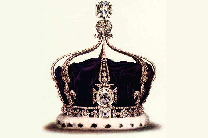 The Koh-i-Noor (Mountain of Light) is set in the front cross of the Queen Consort's crown