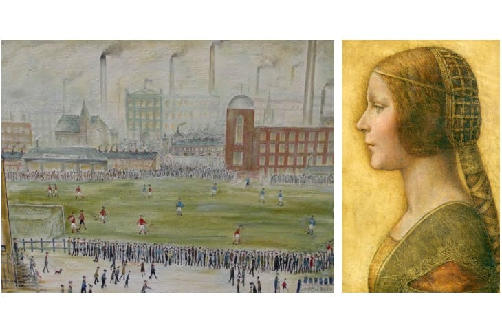 Shaun Greenhalgh claims to have painted 'Before Kick-off' (signed L.S. Lowry, 1923) and 'La Bella Principessa' (attributed to Leonardo da Vinci — but, according to Greenhalgh, based on a girl at the Co-op checkout in Bolton in the 1970s)