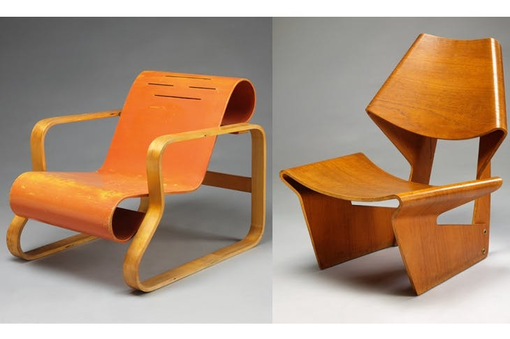 Plywood at its most curvaceous, acceptable and collectible: Alvar Aalto armchair, 1930 (left), and moulded plywood chair by Grete Jalk, 1963