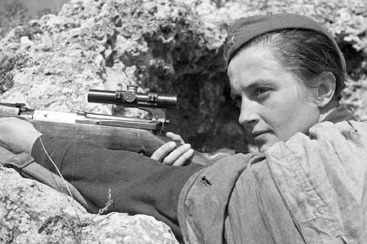 Lyudmila Pavlichenko at Sevastopol, 6 June 1942. Her total confirmed kills during the second world war amounted to 309, including 36 enemy snipers
