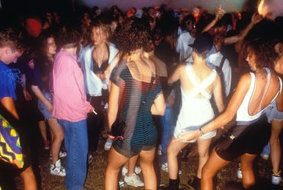 Sorted for E's and whizz: revellers at a Tribal Dance rave, M25 Orbital, East Grinstead, August 1989