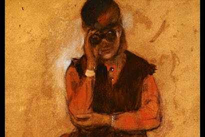 'Woman looking through Field Glasses', c.1869, by Degas