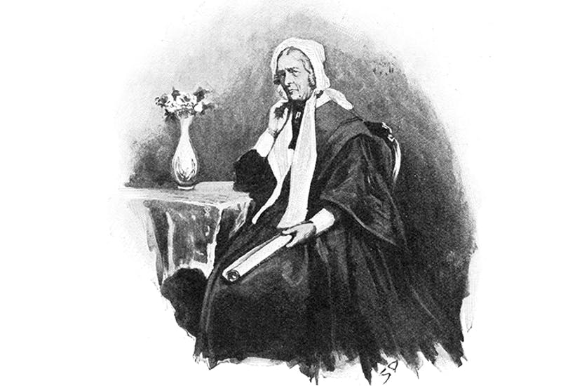 The miserly widow Mary Emsley, clutching a roll of her precious wallpaper, as portrayed in the popular press