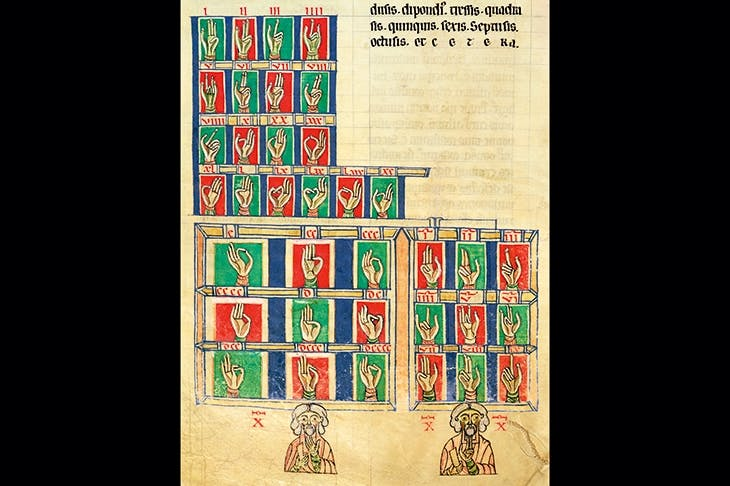 Finger counting from 1 to 20,000. From De Numeris by Rabanus Maurus. (Carolingian school, 9th century)
