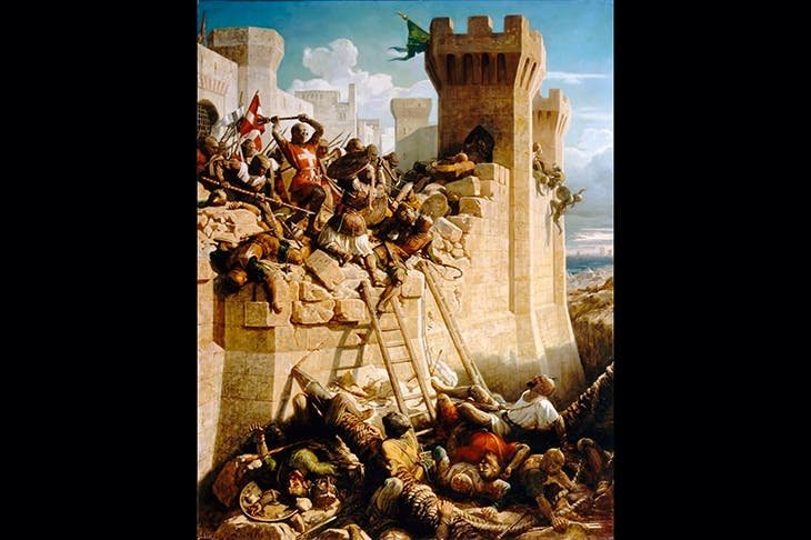 The Templars' final disaster: Guillaume de Clermont on the ramparts of Acre in 1291. Painting by Dominique Papety
