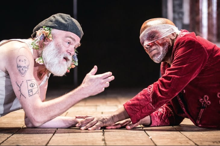 Worse for wear: Kevin McNally as Lear and Burt Caesar as Gloucester in King Lear