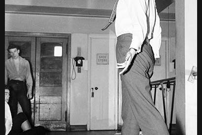 Kenneth MacMillan during rehearsals of his ballet Noctambules at Sadler's Wells, 5 June 1956