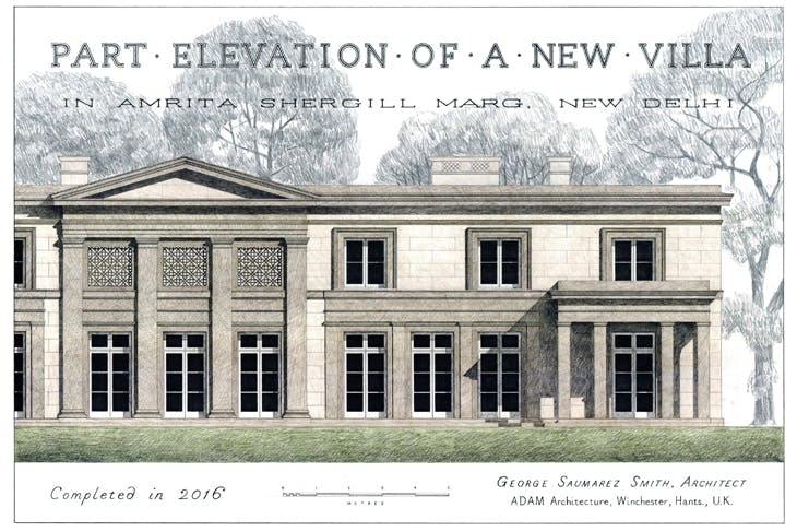 Part elevation of a new house in New Delhi, 2017, by George Saumarez Smith