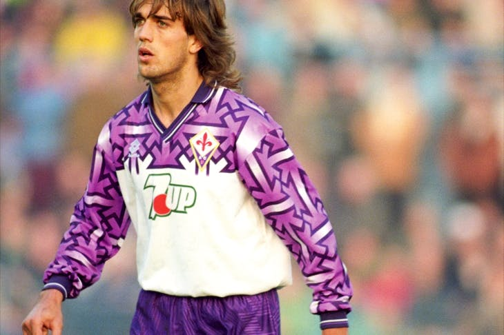 Spot the swastika: Fiorentina striker Gabriel Batistuta in 1992