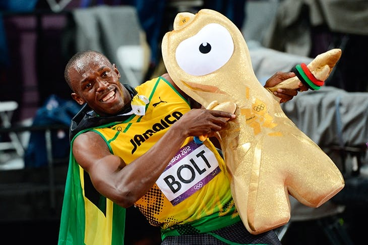 Much fun: Usain Bolt and Wenlock the mascot