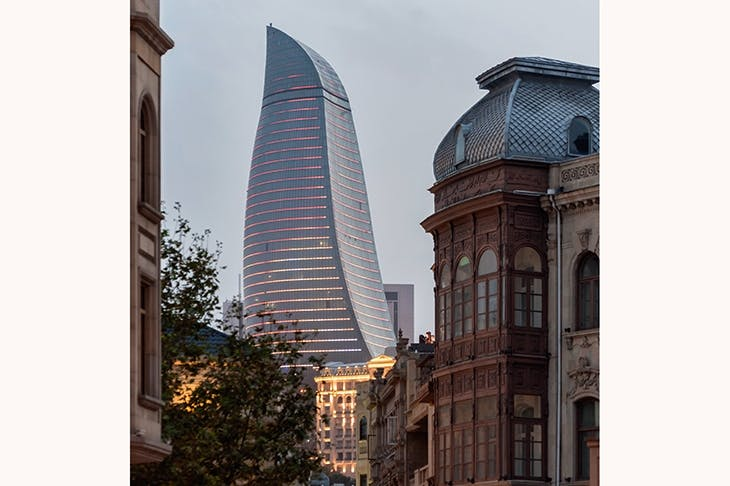 Reinventing Baku: one of the three Flame Towers, comprising apartments, offices and a hotel, which dominate the old town. The project, costing an estimated US$350 million, was completed in 2012