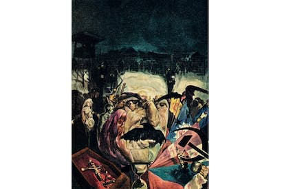 An anti-Stalinist painting of the 1940s shows the tyrant's face composed of starving Russians, against a backdrop of the Gulag