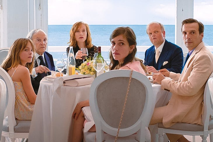 Unhappy families: Fantine Harduin, Jean-Louis Trintignant, Isabelle Huppert, Laura Verlinden and Toby Jones in Happy End