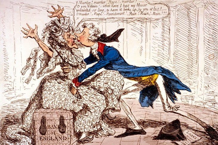 'Political Ravishment — or the Old Lady of Threadneedle Street in danger!' by James Gillray (1797)