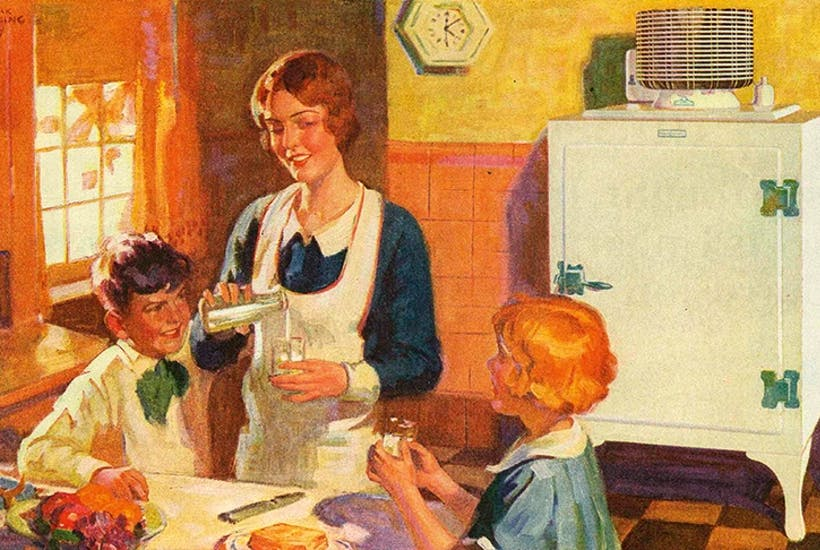 The making of a happy home: cold milk for tea. A 1930s advertisement for General Electric