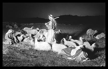 Shepherds watching their flocks by night with Bethlehem in the distance, photograph, c.1928