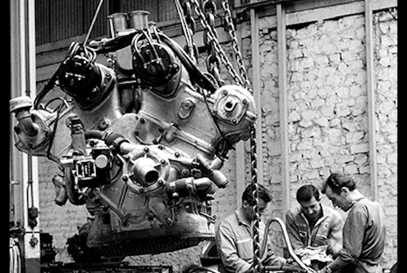 The Ferrari 156 F1, no. 50. The engine hanging in the foreground is a V6
