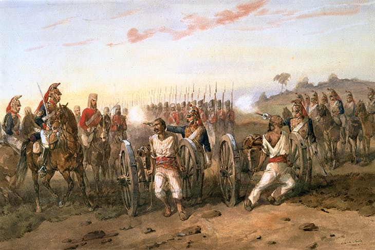 The execution of mutineers by the Bengal Horse Artillery, in a painting by Orlando Norie
