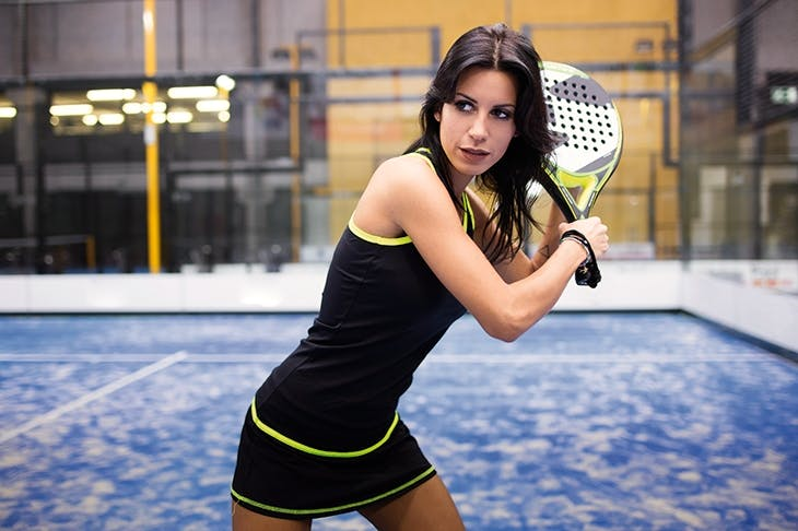 No strings: padel is played with a solid racquet