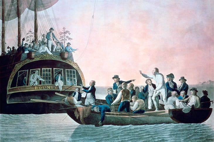 Bligh and crew are set adrift from the Bounty, in a painting by Robert Dodd