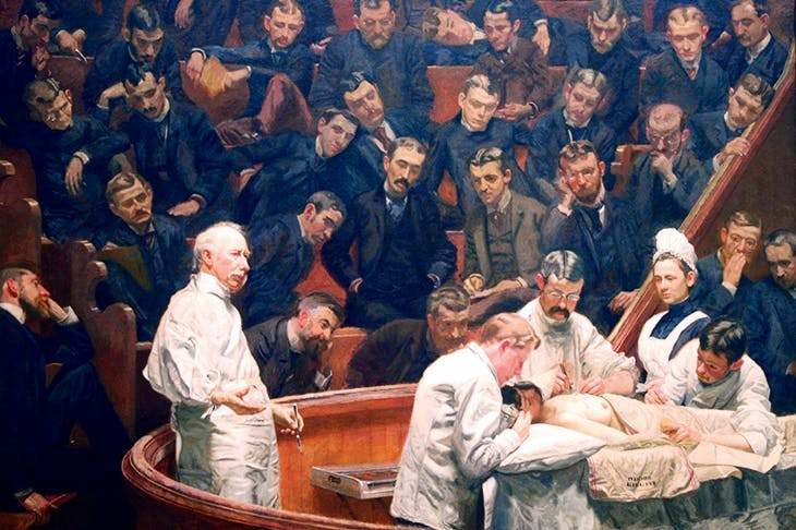 The surgeon and anatomist David Hayes Agnew, teaching at the University of Pennsylvania in the 1880s. The cautious Americans were initially resistant to Lister, who toured the US hoping to convert the sceptics