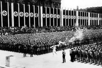 The Nazis had a genius for staging, inventing the procession of the Olympic torch from Athens to the host city